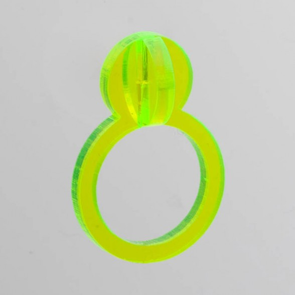 fluo-yellow pearl 3D ring