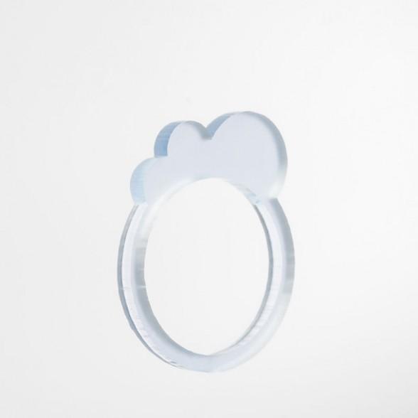 blue translucent mini cloud ring