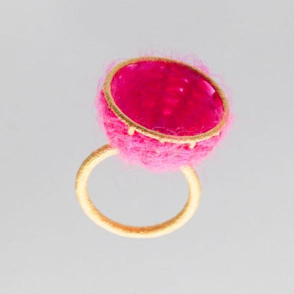 basket pink wool